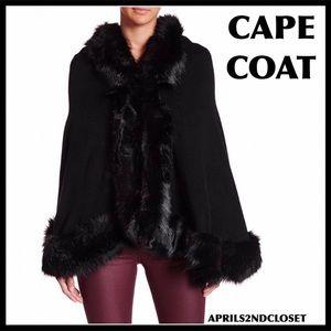LUXE BLACK FAUX FUR CAPE COAT WRAP JACKET A2C
